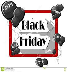 black friday free black friday concept with black balloons and square frame on white