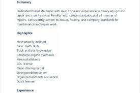 Diesel Mechanic Resume Examples by Heavy Equipment Mechanic Resume Resume Heavy Equipment Mechanic