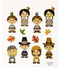 pilgrims and indians thanksgiving stickers 2 sheets country croppers