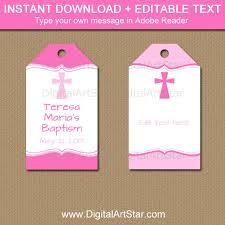 baptism favor tags baptism tags pink baptism favor tags communion tags