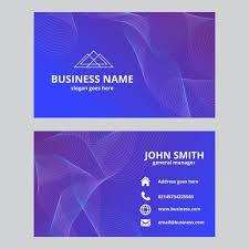 abstract waves business card purple and blue colors free