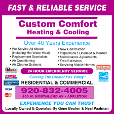 Custom Comfort Heating And Air Custom Comfort Heating U0026 Cooling Appleton Wi 54911 1926