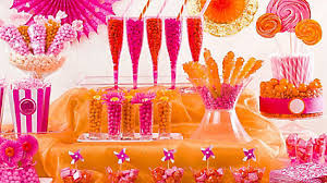 pink orange candy buffet display idea pink and orange candy
