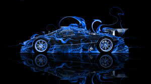 blue pagani zonda pagani zonda r side fire abstract car 2014 el tony