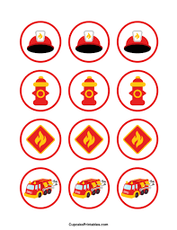 firefighter cupcake toppers truck cupcake toppers use the circles for cupcakes party
