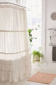 Ruffled Shower Curtain Rayna Tiered Ruffle Tie Side Shower Curtain Urban Outfitters