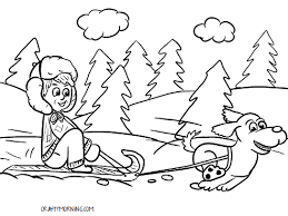 dogs sleigh coloring pages coloring