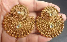 antique gold jhumka earrings south indian antique gold plated cz kundan polki wedding earrings
