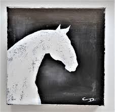 horse art original painting rustic farmhouse home decor white
