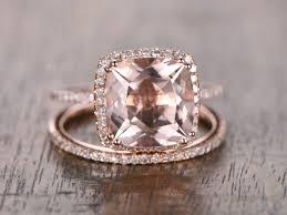 Rose Gold Wedding Ring Sets by 9mm Cushion Cut Pink Morganite Ring Set 14k Rose Gold Morganite