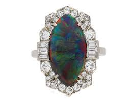 black opal engagement rings superb deco black opal diamond ring circa 1935 for sale at