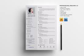 Template For Professional Resume Professional Resume V 3 Resume Templates Creative Market