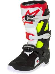 motocross boots kids alpinestars black red fluorescent tech 7s kids mx boot