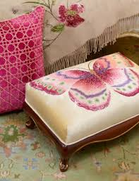 strongwater pillows strongwater eliza butterfly ottoman flora strongwater