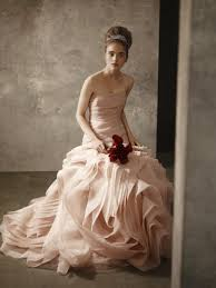 blush pink strapless bridal gown from white by vera wang 2011
