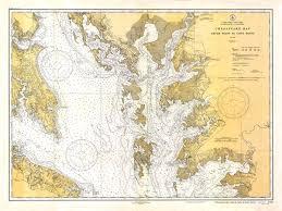 Chesapeake Bay Map 1934 Nautical Chart Of Chesapeake Bay
