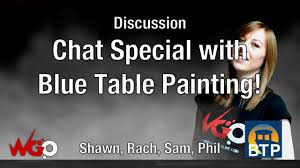 Blue Table Painting by Discussion Chat Special With Blue Table Painting Shawn