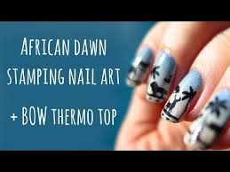 african dawn gradient and stamping nail art bow thermo topcoat
