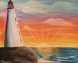 how to paint a lighthouse sunset tracie s acrylic canvas tutorials