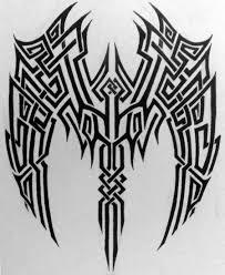 black tribal wings tattoos design
