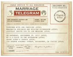 telegram wedding invitation 1940s or ww2 wedding theme so special weddings