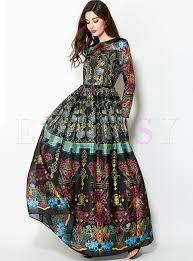 maxi dresses vintage floral print big hem waist maxi dress ezpopsy