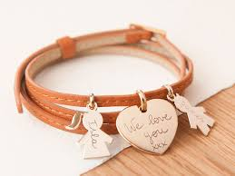 family bracelets personalised leather wrap family bracelet