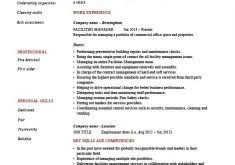 Facility Manager Job Description Resume by One Page Resume Examples Haadyaooverbayresort Com
