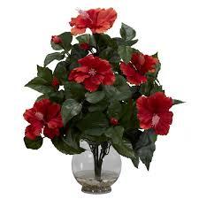 hibiscus w fluted vase silk flower arrangement nearly natural