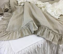 amazon com natural linen country ruffle duvet cover shabby chic