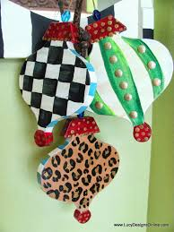 Paper Mache Christmas Crafts - hand painted christmas ornaments whimsical diy large paper mache