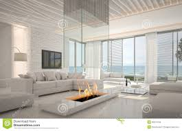 white loft amazing loft living room interior with seascape view stock images