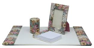 Floral Desk Accessories 15 X 22 Fabric Desk Pad Set