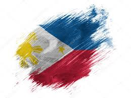 philippine flag painted with brush on white background stock photo