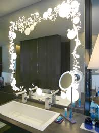 bathroom bathroom vanity table with unusual lighted mirror