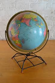 vintage replogle 12 inch reference globe on wire stand mid