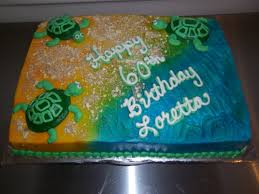 60th birthday cake with a beach theme and turtles thecakebaker