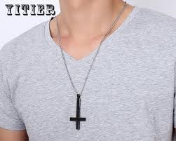wear cross necklace images 1pcs male black men in st peter wear a stainless steel necklace jpg