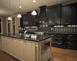 dark colored kitchens corner white chalk paint white gloss island