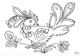 petrykivka bird coloring page free printable coloring pages