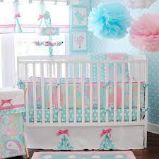 Pink And Aqua Crib Bedding Baby Bedding Pixie Baby In Aqua