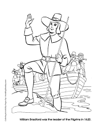 thanksgiving coloring pages pilgrim leader william bradford