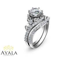 promise engagement and wedding ring set bridal set 14k white gold ring designer engagement ring
