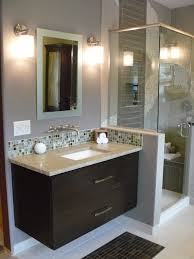 brilliant style small bathroom design with gray wall paint color