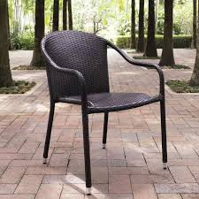 Patio Stack Chairs Palm Harbor Brown Outdoor Wicker Stackable Chairs Set Of 4 Crosley