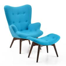 Light Blue Tufted Ottoman Light Blue Velvet Lounge Chair With Small Ottoman And Tufted
