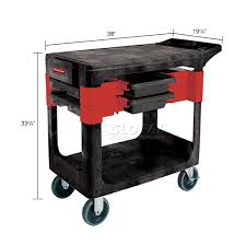 rubbermaid service cart with cabinet trucks carts carts plastic shelf rubbermaid 174 6180 black