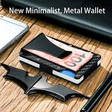 personal details resume minimalist wallet metal clippers slim carbon fiber credit card holder rfid blocking metal wallet
