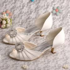 wedding shoes low heel pumps wedopus drop shipping 2015 kitten heel low heel pumps ivory satin