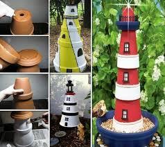 Easy Diy Garden Decorations Clay Pot Lighthouse For Garden Decor Amazing Diy Interior